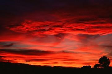 Dramatic Sky Over Silhouette Landscape - fototapety na wymiar