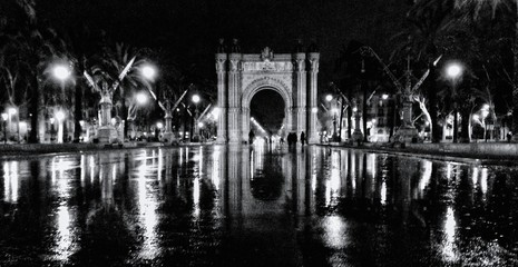 Fotomurales - Arch Reflecting In Wet Asphalt At Night