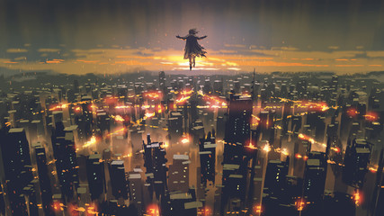 man floating in the sky and destroys the city with evil power, digital art style, illustration painting