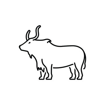 Black line icon for yak