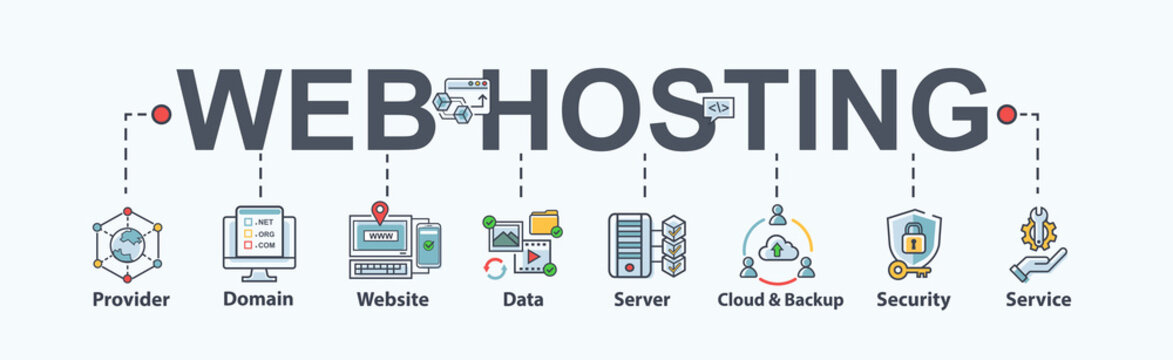 Web hosting banner web icon for business, domain, website, SEO, data, cloud service, backup, support, security and service. Flat cartoon vector infographic.