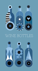 Autocollant pour porte Art abstrait Six decorative wine bottles isolated on a blue background. Shades of blue vector illustration.
