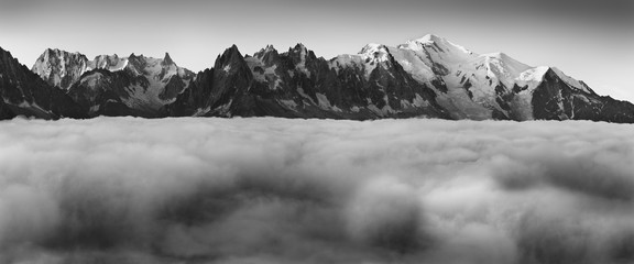 Black and white fine art summer view of the Alps with Mont Blanc (Monte Bianco) on background, Chamonix location. Beautiful outdoor scene in Vallon de Berard Nature Reserve, Graian Alps, France Europe