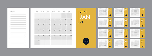 Calendar 2021 template planner vector diary in a minimalist style