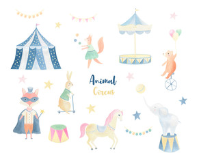 Poster Cute animal circus hand painted isolated clip art set. Magic watercolor fox, rabbit, squirrel, bear, elephant, cicus tent. Big circus collection.