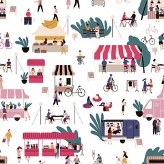 People at market seamless pattern vector flat illustration. Crowd of man and woman walk, buy, eat fast food and rest at local fair on white background. Marketplace between stalls or kiosks