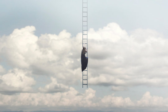 woman in search of freedom climbs a surreal staircase that descends from the sky