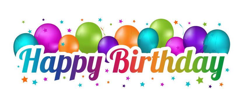 Happy Birthday Banner - Colorful Vector Illustration