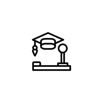 education game icon in linear, outline icon isolated on white background