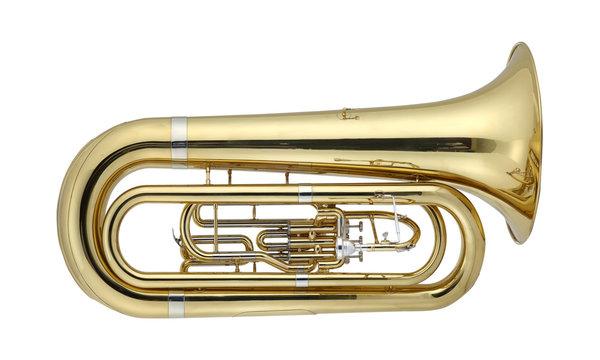Golden Tuba, Tubas Brass Music Instrument Isolated on White background 3D rendering