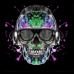 abstract background with skull on background