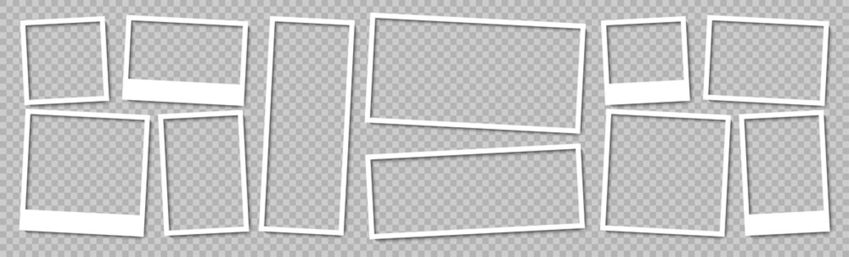 Photo frames. Collection Photo frames, isolated. Template mockup photo frame different shapes. Transparent background. Vector illustration.