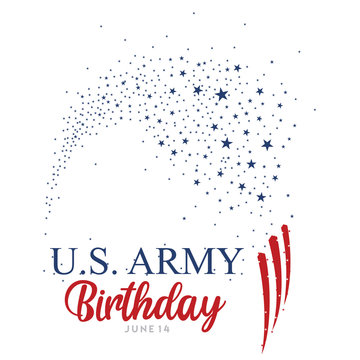 An abstract vector illustration of United States Army birthday with clusters of stars and stripes