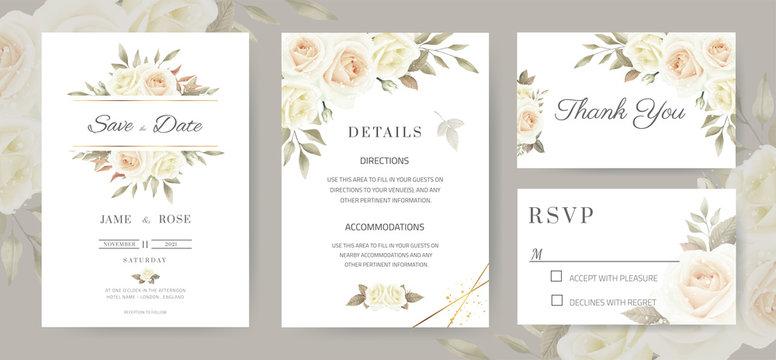 Wedding invitation card. Vintage style white roses Brown eucalyptus leaves. Template card set.