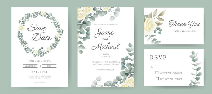 Eucalyptus with rose wedding invitation card. Circle ring bouquet of white roses. Template card set.