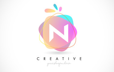 N Letter Logo Design with Vibrant Colorful Splash rounded shapes. Pink and Blue Orange abstract Design Letter Icon Vector.