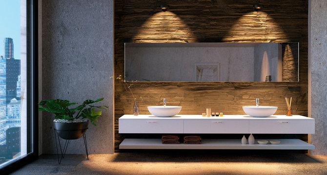 3D render of bathroom vanity with stone tiles.