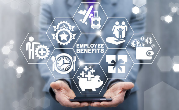 Employee Benefits Career Concept. Business Bonus Work Perks.