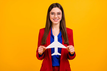 Fototapete - Photo of classy attractive business lady successful worker planning airplane trip on vacation wear specs red luxury office blazer blue blouse suit isolated yellow color background