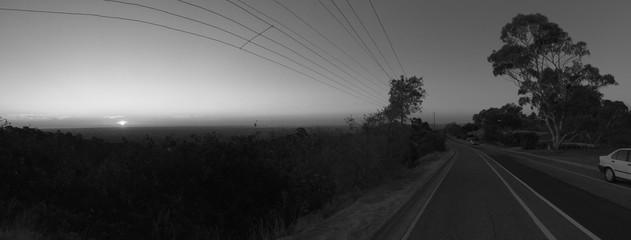 Foto auf AluDibond Rosa dunkel Empty Road Along Countryside Landscape