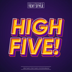 High Five Trendy Pop Art Vector Text Effect