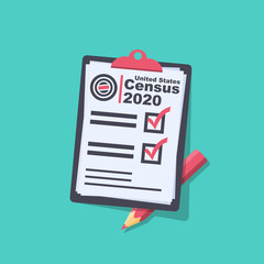 Census 2020. The process of collecting and analyzing population demographic data. Folder with documents and pencil. Vector illustration flat design. Isolated on background.