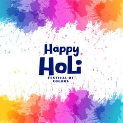 happy holi festival colorful splashes background design