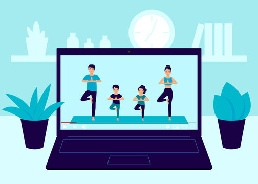 Laptop screen video of yoga family exercise at home. Father, mother and children workout, practicing yoga in room, relaxing exercise at home. Video online exercise and meditation at home. Vector