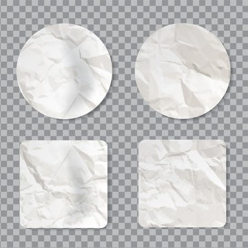 Blank crumpled sticker mockup. Empty sticky label with realistic wrinkled paper texture
