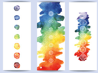 hakras symbol on color watercolor background