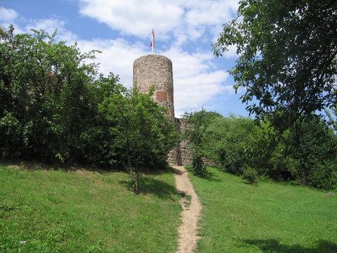 Wiese, Mauern und Türme Stadtmauer Templin in der Uckermark