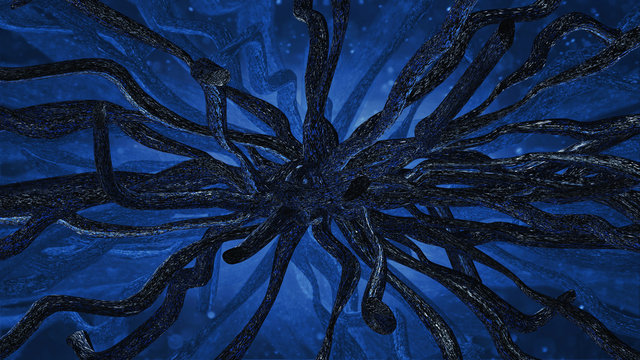 Abstract horror background, with a dark creature with tentacles. 3D illustration