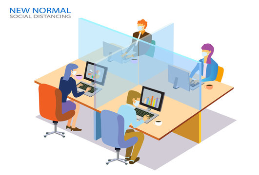 New nomal office  concept people lifestyle after pandemic covid-19 corona virus. New normal is social distancing and wearing mask. Flat design style vector illustration