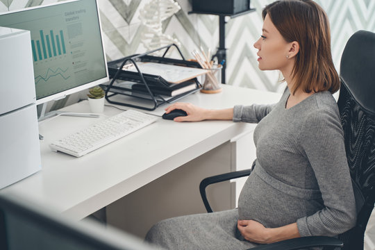 Beautiful pregnant lady using computer at work