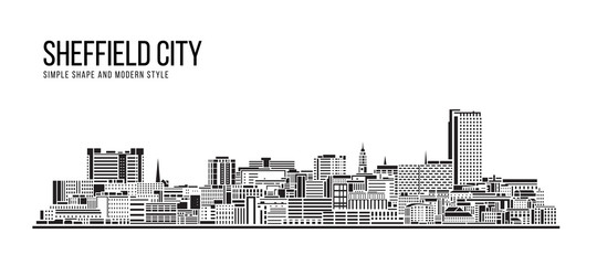 Cityscape Building Abstract Simple shape and modern style art Vector design - Sheffield city