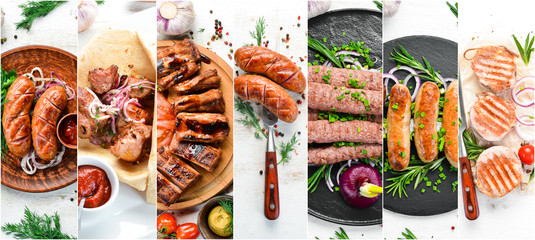 Poster de jardin Pierre, Sable Photo collage. Set of baked steaks, meat and sausages with spices and vegetables. Top view.