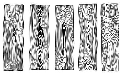 Set of wood planks. Сollection of wooden bars for the manufacture of carpentry. Industrial wood. Vector illustration on a white background.