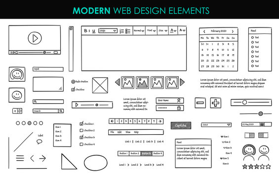 Set modern design elements page template. Website UI UX design hand drawn wire frames. Web elements with navigation, buttons, icons for use on the site. Vector illustration.