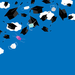 Funny graduation corner background with bonnets and medical masks in the air. Flying masks and grads hats, Quarantine 2020 Graduation ceremony concept, vector illustration