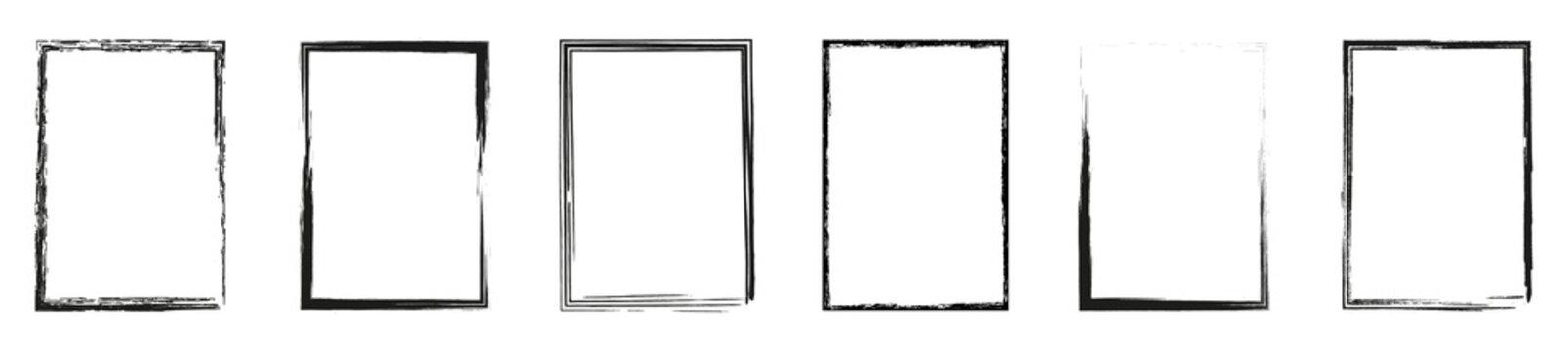 Grunge frame collection. Grounge border set. Vector illustration