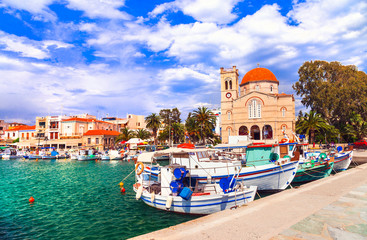 Traditional greek fishing villages. Aegina island. Saronic gulf of Greece. Popular tourist destination