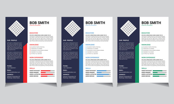 Professional personal CV and resume template with nice typography design, red, blue, green colorful simple curriculum vitae layout