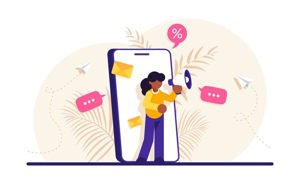 Concept of mobile advertisement, digital promotion, social media marketing or SMM. Woman with a megaphone on her phone screen. Modern flat vector illustration.