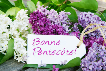 Bonne Pentecote, Pentecost card with lilac.