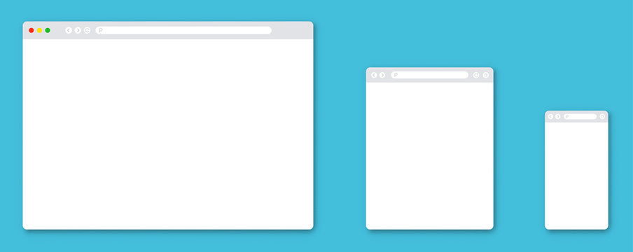 Browser window template set. Vector illustration