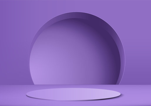 Minimal purple Podium and scene with 3d render vector in abstract background composition, 3d illustration mock up scene geometry shape platform forms for product display. stage for awards in modern