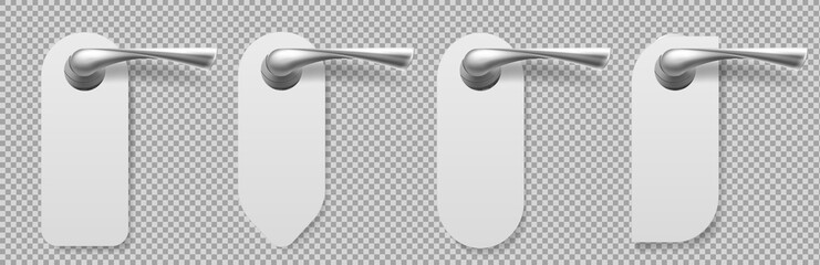 Door handles with hangers different shapes. Vector realistic mockup of blank white paper hanger sign for service in motel or hotel. Metal lever handles with tags isolated on transparent background Wall mural