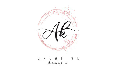 Handwritten AK a k letters logo with dust pink sparkling circles and glitter.