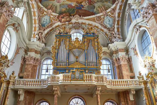 St. James Cathedral in Innsbruck, Austria - Balkony, Pipe Organ and Paintings