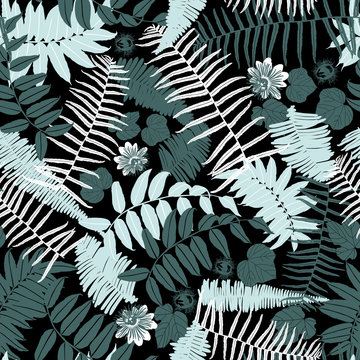 Vector black green mint jungle ferns seamless repeat pattern. Suitable for fabric, wallpaper and gift wrap.